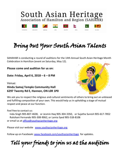 Bring Out Your South Asian Talents